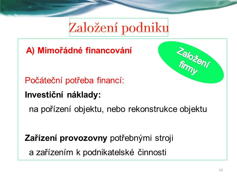 Založení podniku A) Mimořádné financování Založení firmy