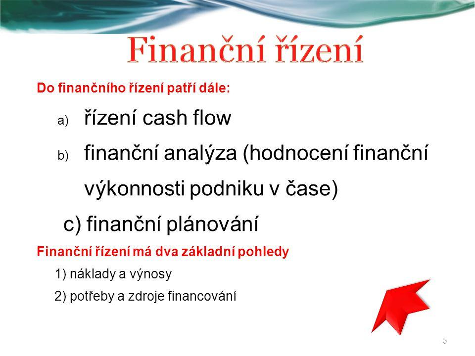 Finanční řízení řízení cash flow