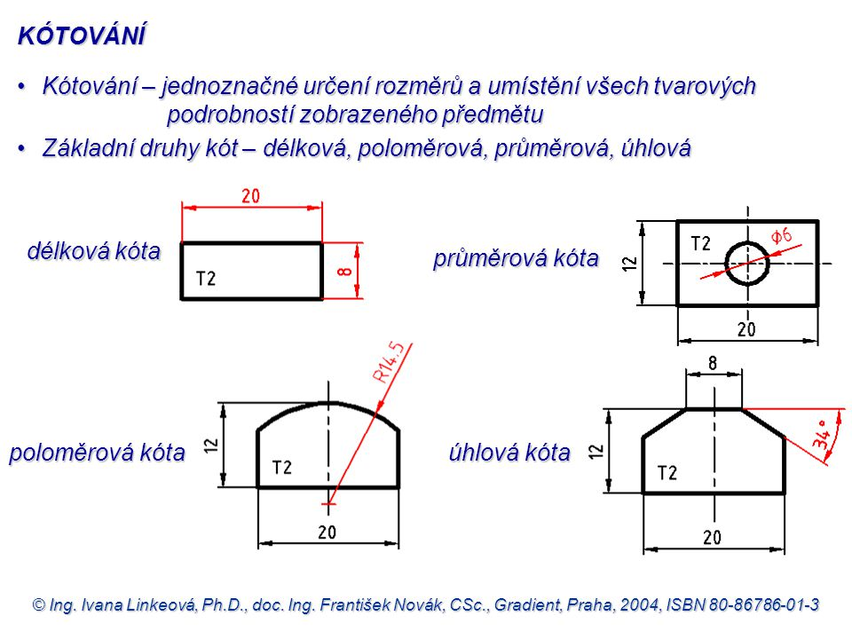 Základní druhy kót – délková, poloměrová, průměrová, úhlová
