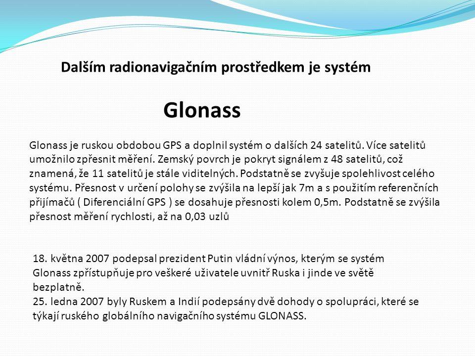 Glonass Dalším radionavigačním prostředkem je systém