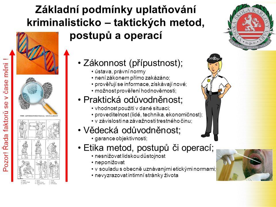 Základní podmínky uplatňování kriminalisticko – taktických metod, postupů a operací