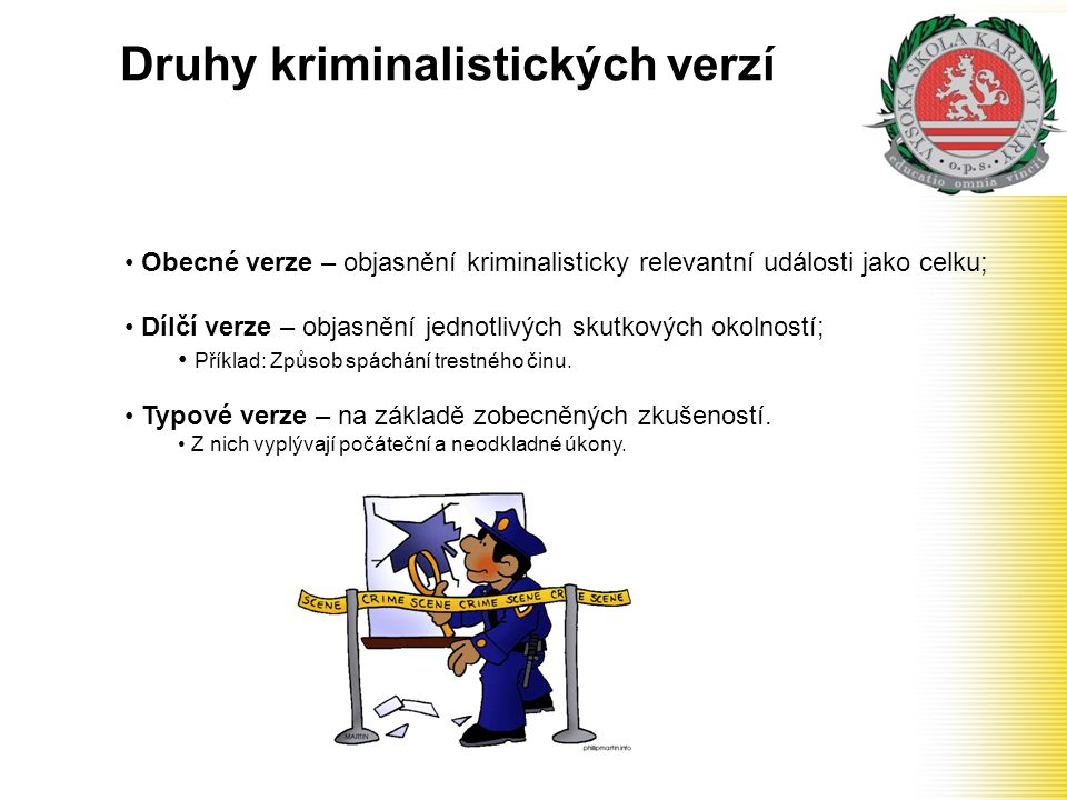 Druhy kriminalistických verzí