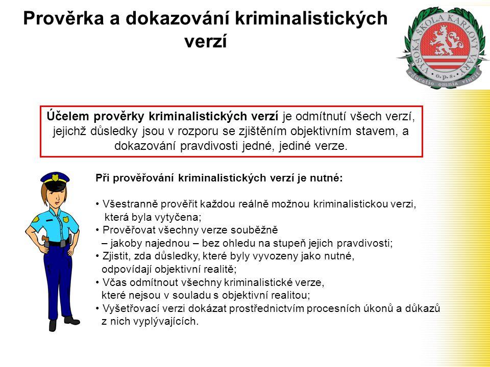 Prověrka a dokazování kriminalistických verzí