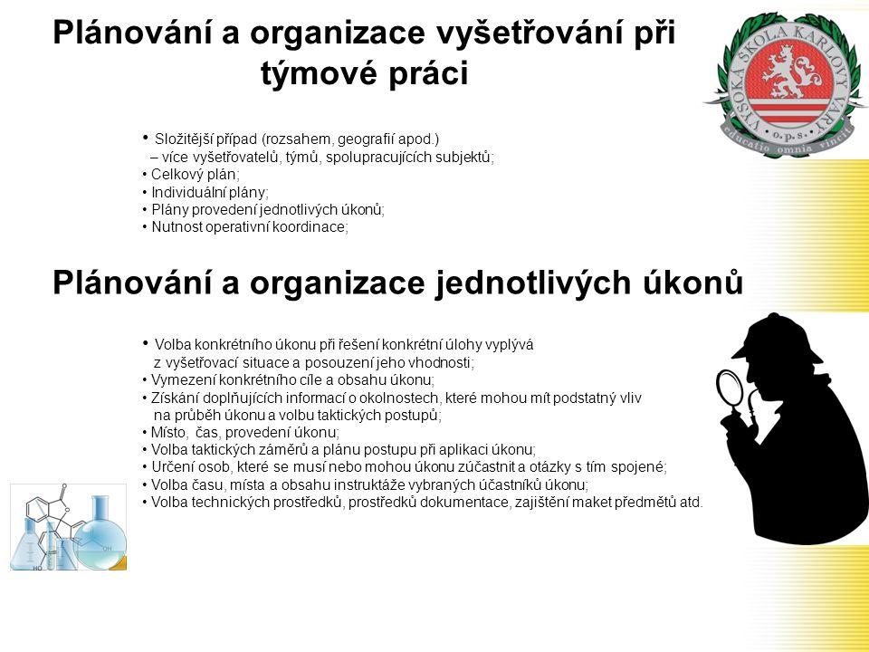 Plánování a organizace vyšetřování při týmové práci