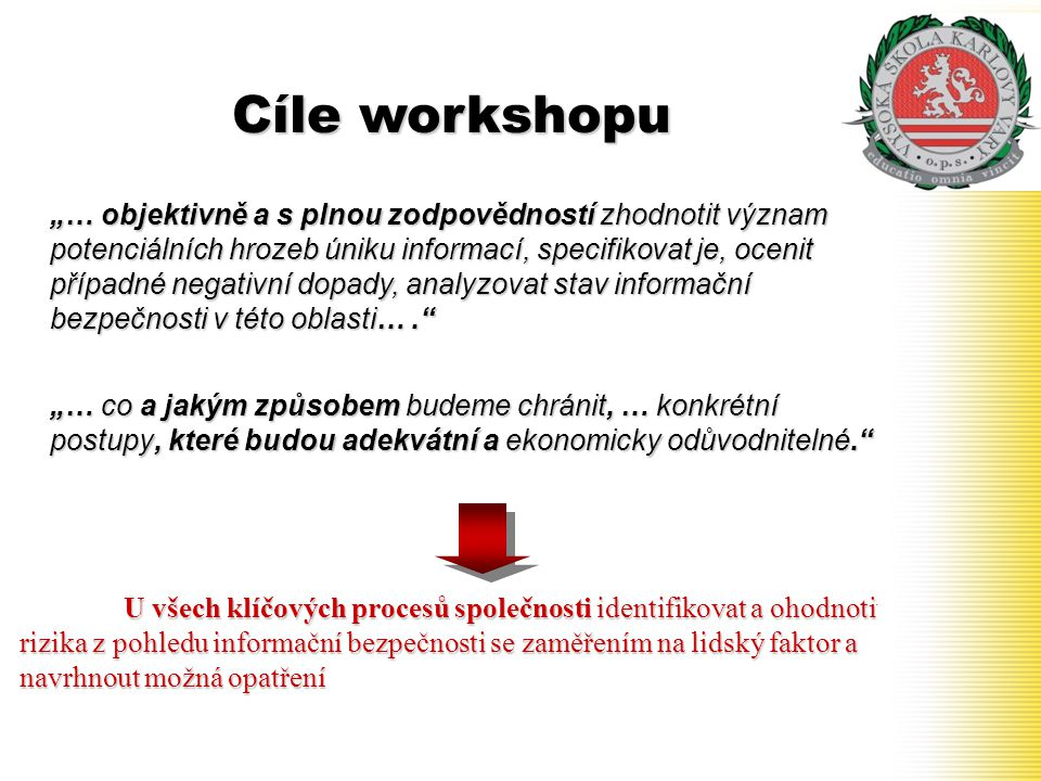 Cíle workshopu