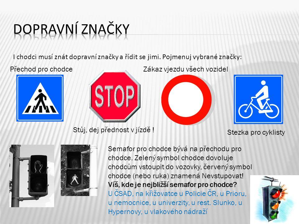Dopravní značky I chodci musí znát dopravní značky a řídit se jimi. Pojmenuj vybrané značky: Přechod pro chodce.