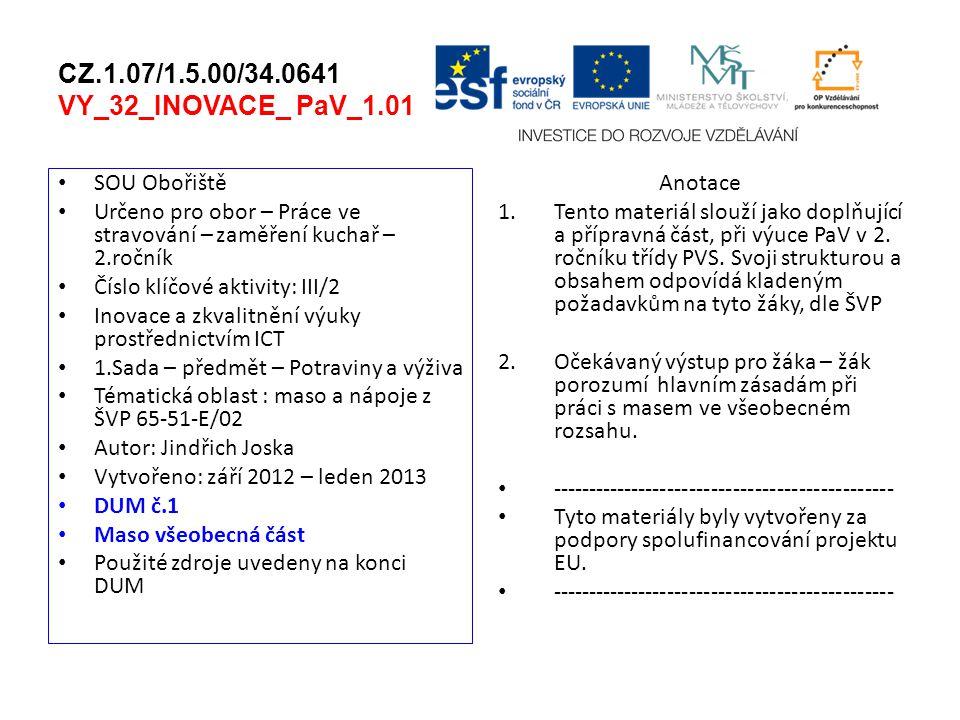 CZ.1.07/1.5.00/34.0641 VY_32_INOVACE_ PaV_1.01