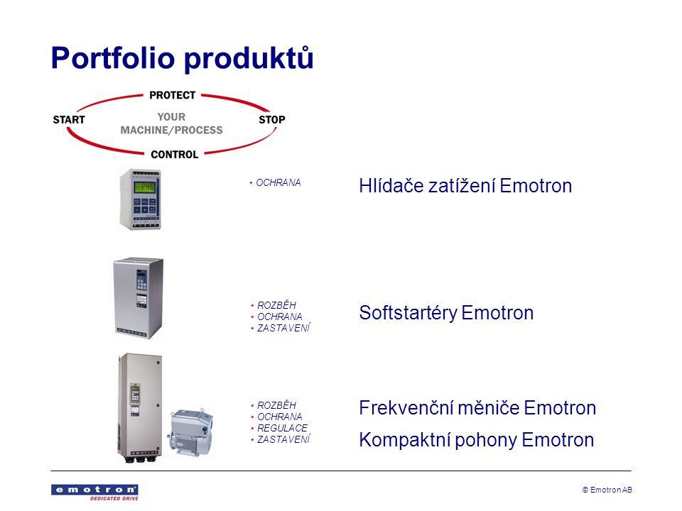 Portfolio produktů Hlídače zatížení Emotron Softstartéry Emotron