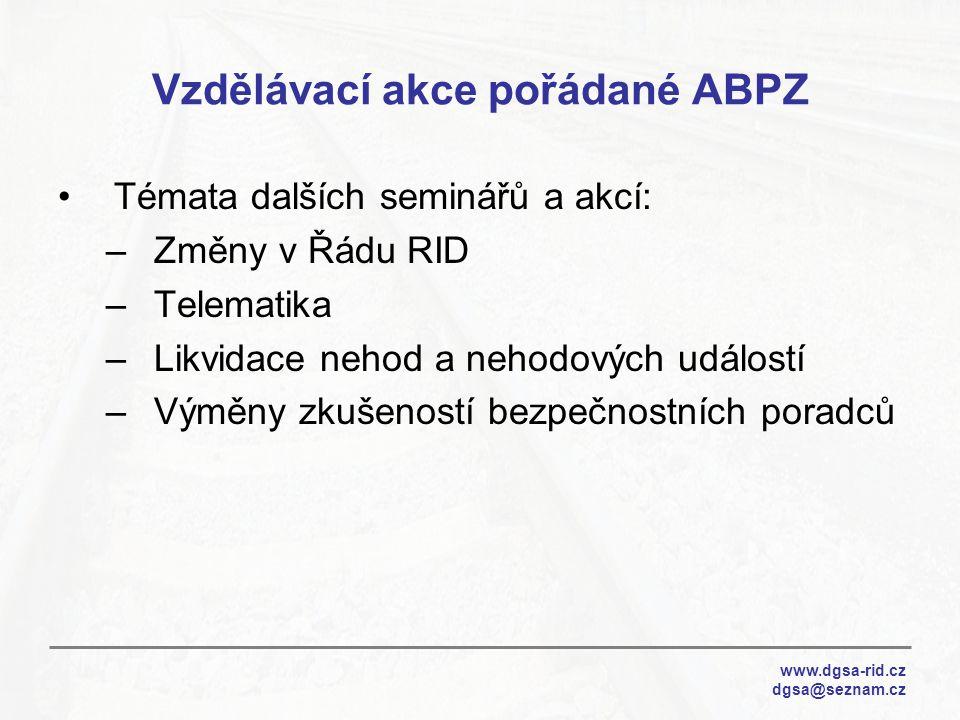 Vzdělávací akce pořádané ABPZ