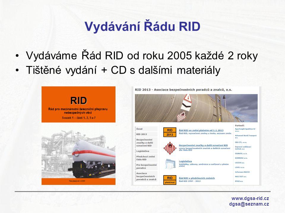 Vydávání Řádu RID Vydáváme Řád RID od roku 2005 každé 2 roky