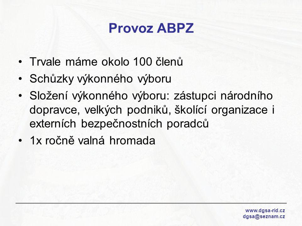 Provoz ABPZ Trvale máme okolo 100 členů Schůzky výkonného výboru