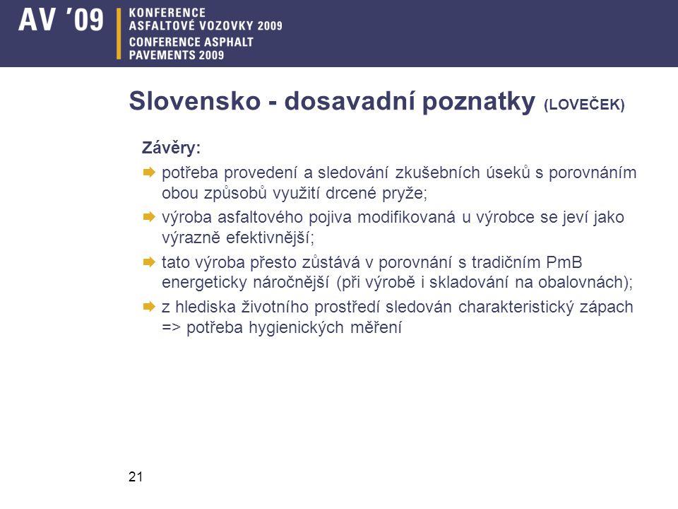 Slovensko - dosavadní poznatky (LOVEČEK)