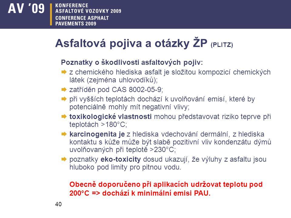 Asfaltová pojiva a otázky ŽP (PLITZ)