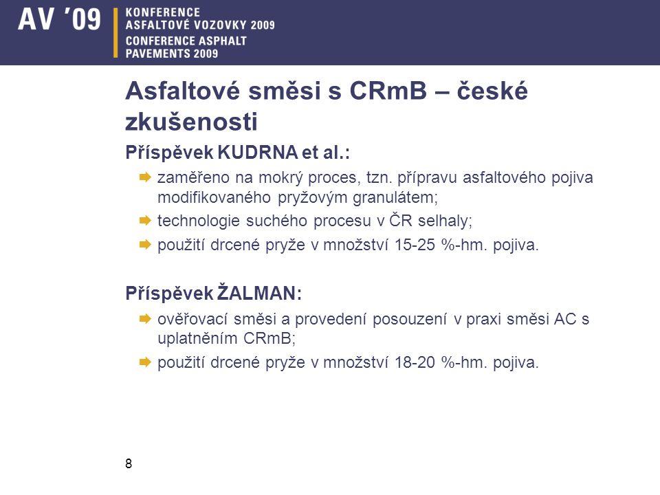 Asfaltové směsi s CRmB – české zkušenosti
