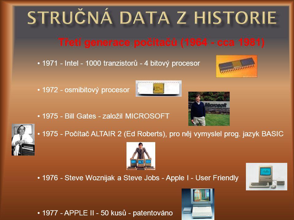 Stručná data z historie
