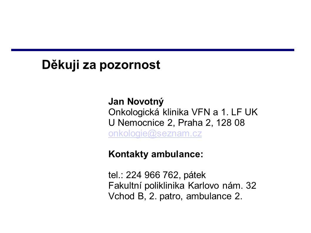 Děkuji za pozornost Jan Novotný Onkologická klinika VFN a 1. LF UK