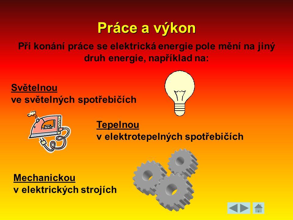 Práce a výkon Při konání práce se elektrická energie pole mění na jiný druh energie, například na: Světelnou.