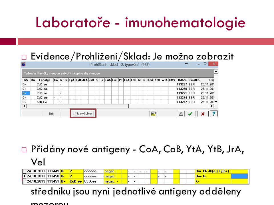 Laboratoře - imunohematologie