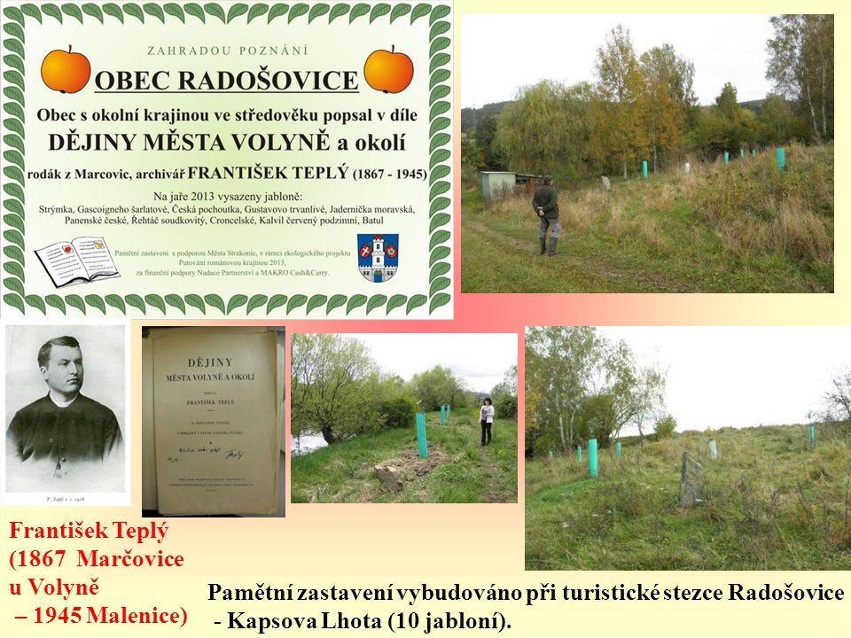 František Teplý (1867 Marčovice. u Volyně. – 1945 Malenice) Pamětní zastavení vybudováno při turistické stezce Radošovice.