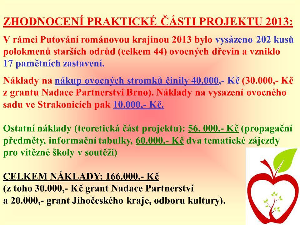 ZHODNOCENÍ PRAKTICKÉ ČÁSTI PROJEKTU 2013: