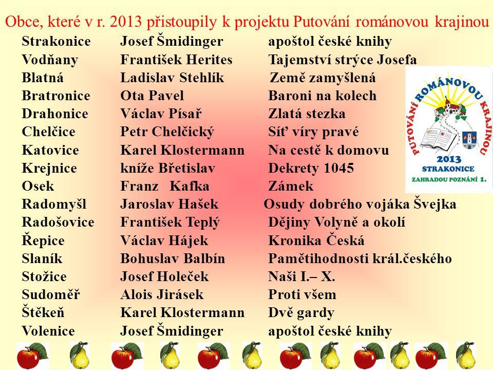 Obce, které v r. 2013 přistoupily k projektu Putování románovou krajinou