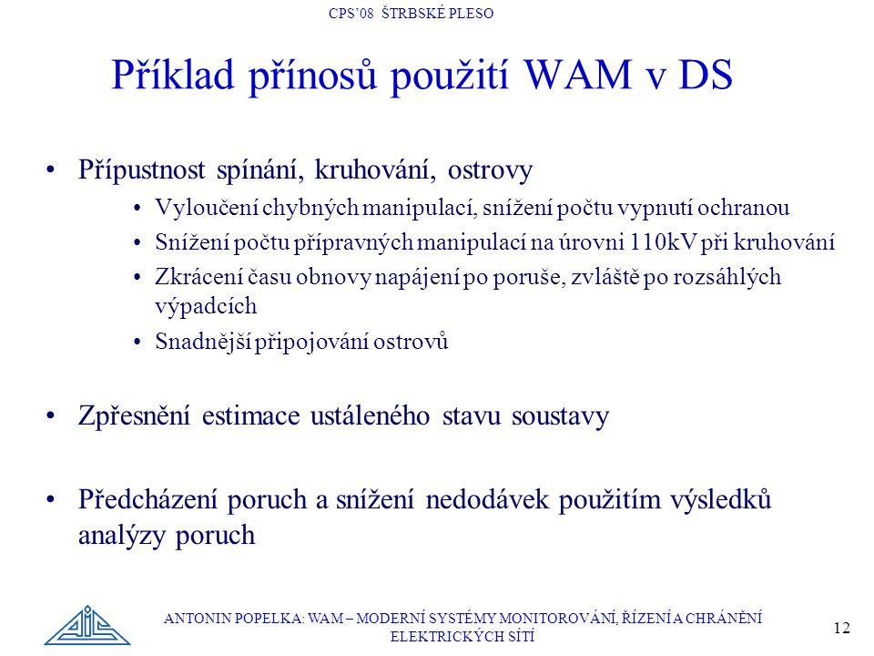Příklad přínosů použití WAM v DS