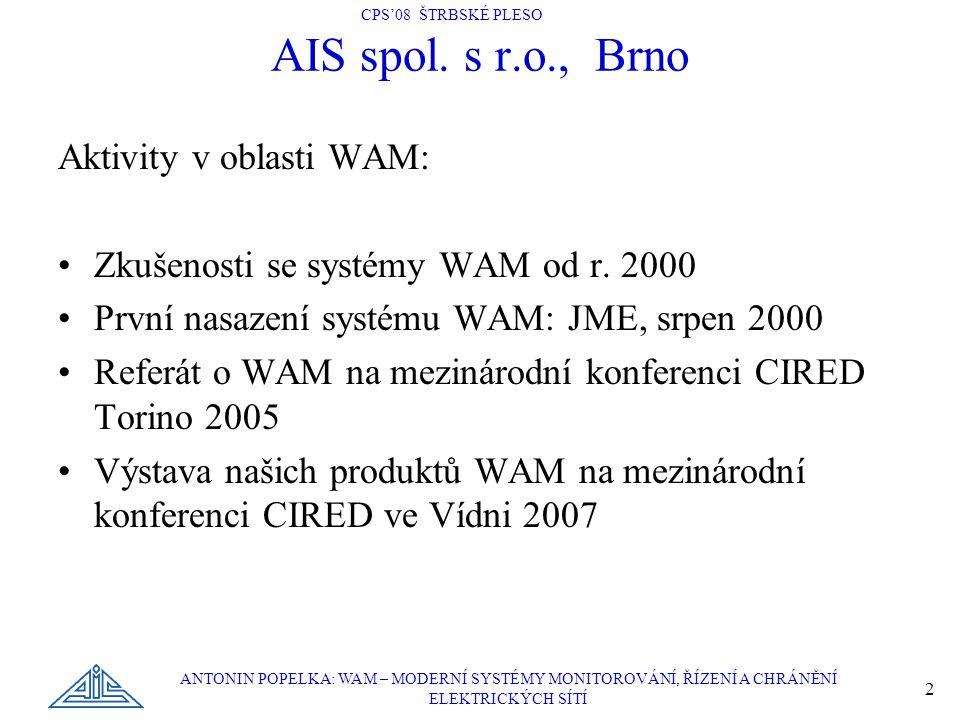 AIS spol. s r.o., Brno Aktivity v oblasti WAM: