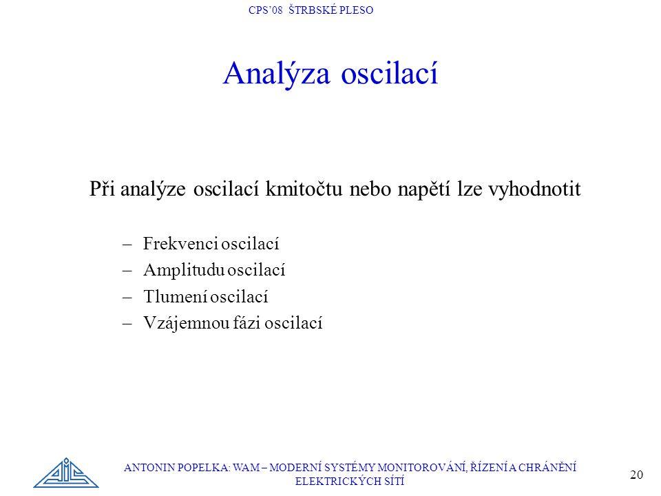 Analýza oscilací Při analýze oscilací kmitočtu nebo napětí lze vyhodnotit. Frekvenci oscilací. Amplitudu oscilací.