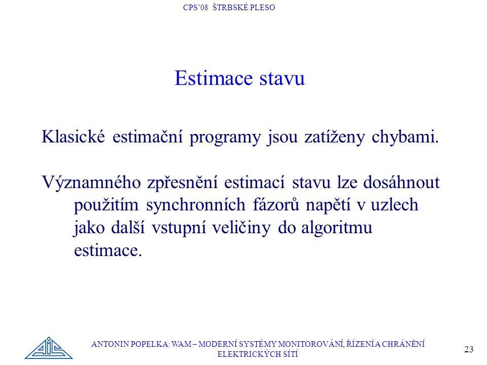 Estimace stavu Klasické estimační programy jsou zatíženy chybami.