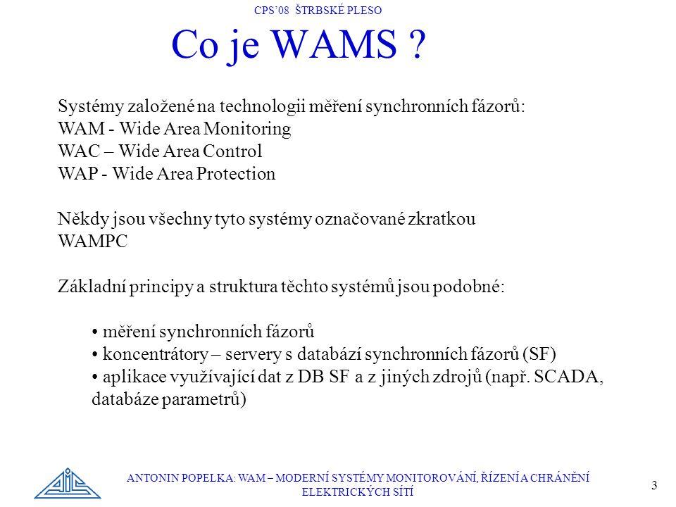 Co je WAMS Systémy založené na technologii měření synchronních fázorů: WAM - Wide Area Monitoring.