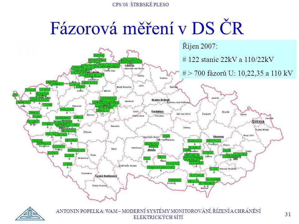 Fázorová měření v DS ČR Říjen 2007: # 122 stanic 22kV a 110/22kV