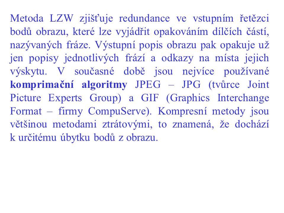 Metoda LZW zjišťuje redundance ve vstupním řetězci bodů obrazu, které lze vyjádřit opakováním dílčích částí, nazývaných fráze.