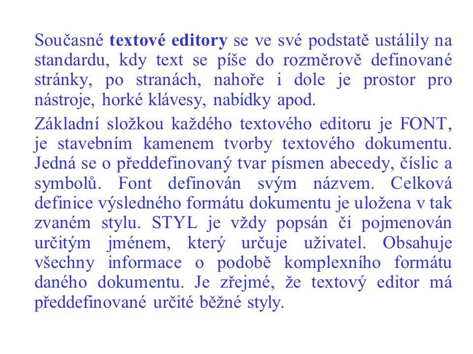 Současné textové editory se ve své podstatě ustálily na standardu, kdy text se píše do rozměrově definované stránky, po stranách, nahoře i dole je prostor pro nástroje, horké klávesy, nabídky apod.