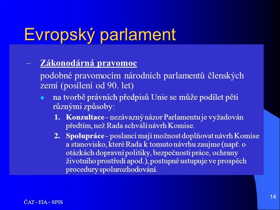 Evropský parlament Zákonodárná pravomoc