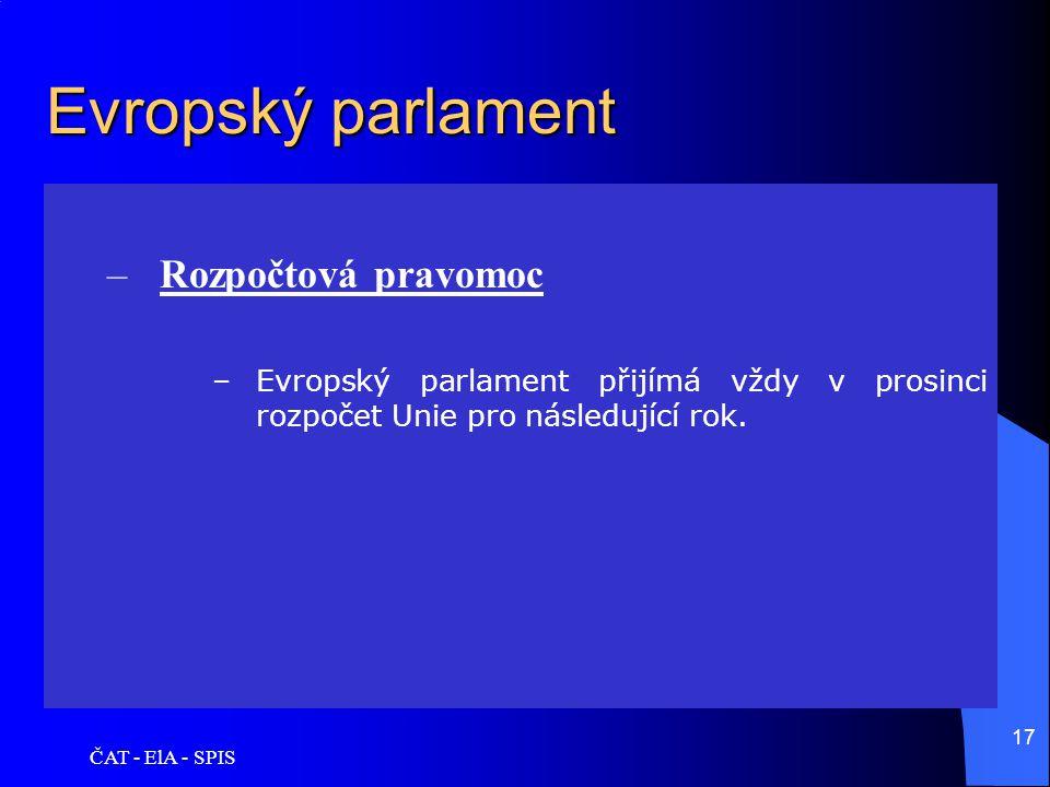 Evropský parlament Rozpočtová pravomoc