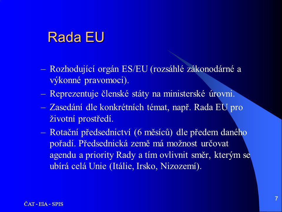 Rada EU Rozhodující orgán ES/EU (rozsáhlé zákonodárné a výkonné pravomoci). Reprezentuje členské státy na ministerské úrovni.