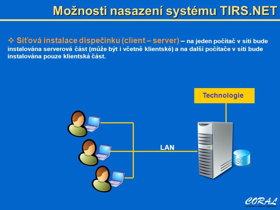 Možnosti nasazení systému TIRS.NET