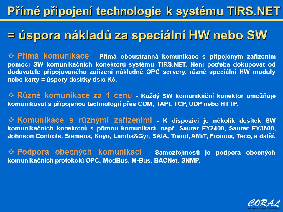 Přímé připojení technologie k systému TIRS.NET