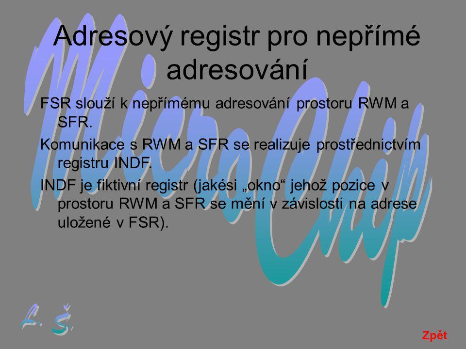 Adresový registr pro nepřímé adresování