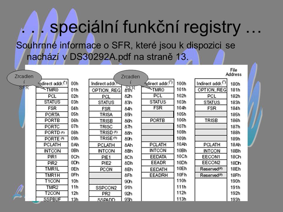 . . . speciální funkční registry …