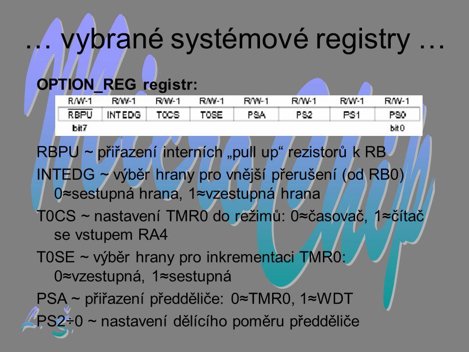 … vybrané systémové registry …