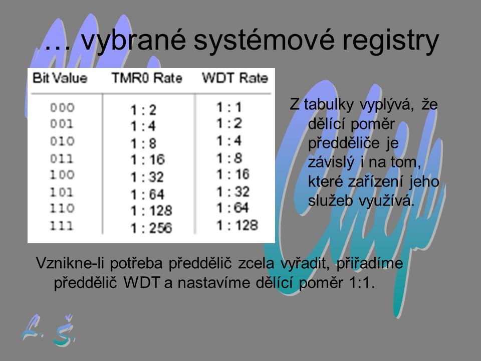 … vybrané systémové registry