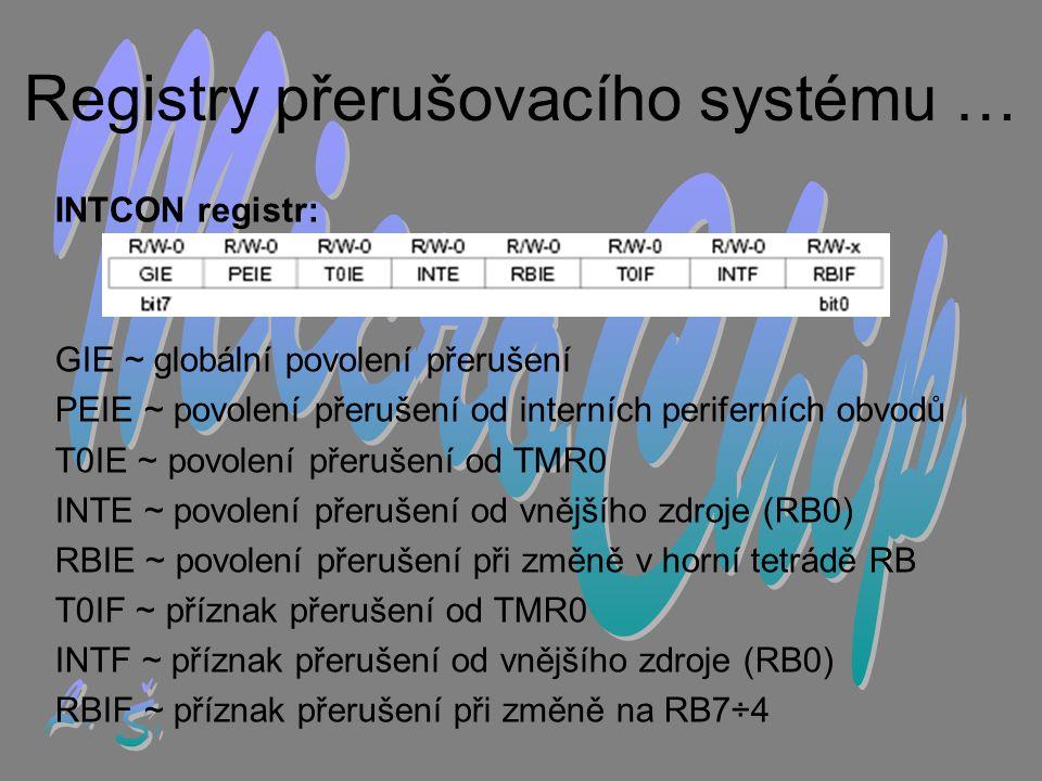 Registry přerušovacího systému …