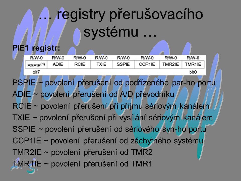 … registry přerušovacího systému …