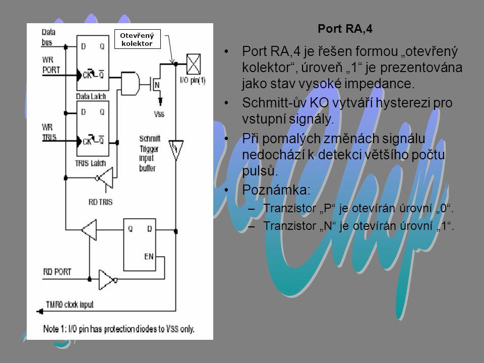 """MicroChip Port RA,4. Otevřený kolektor. Port RA,4 je řešen formou """"otevřený kolektor , úroveň """"1 je prezentována jako stav vysoké impedance."""