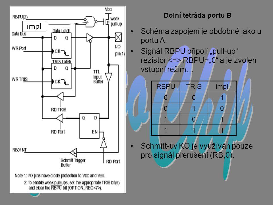 MicroChip L. Š. Schéma zapojení je obdobné jako u portu A.