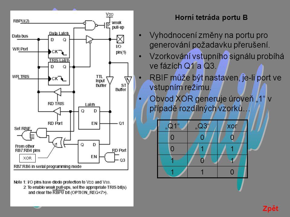 MicroChip Horní tetráda portu B. Vyhodnocení změny na portu pro generování požadavku přerušení.