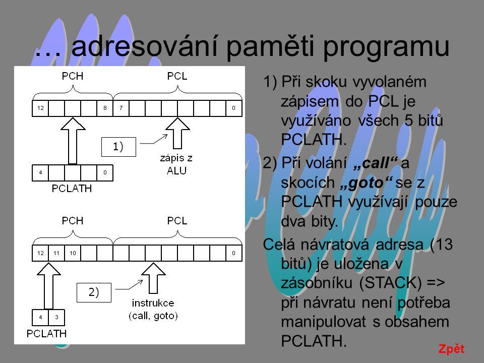 … adresování paměti programu