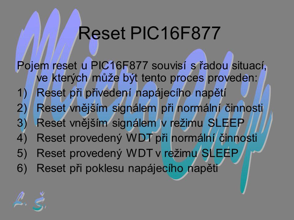 Reset PIC16F877 MicroChip L. Š.