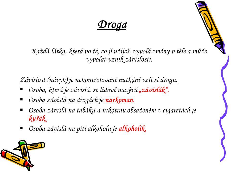 Droga Závislost (návyk) je nekontrolované nutkání vzít si drogu.